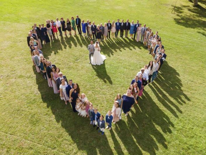Luftbild Gruppenbild Hochzeit